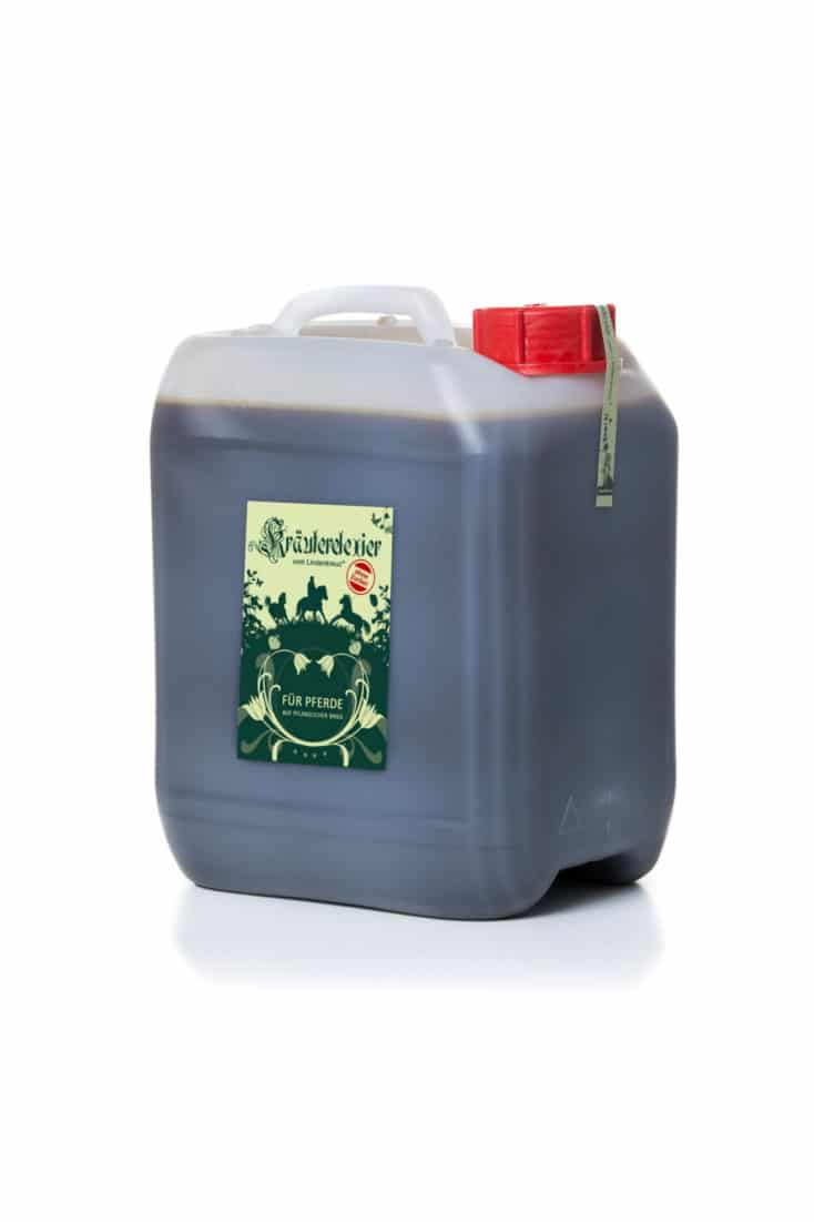 1 Kanister des Kräuterelexiers in der zuckerfreien Variante. NatürlicherSchleimlöser zur behandlung von Pferdehusten, Bronchitis, Allergie und Nasenausfluss.